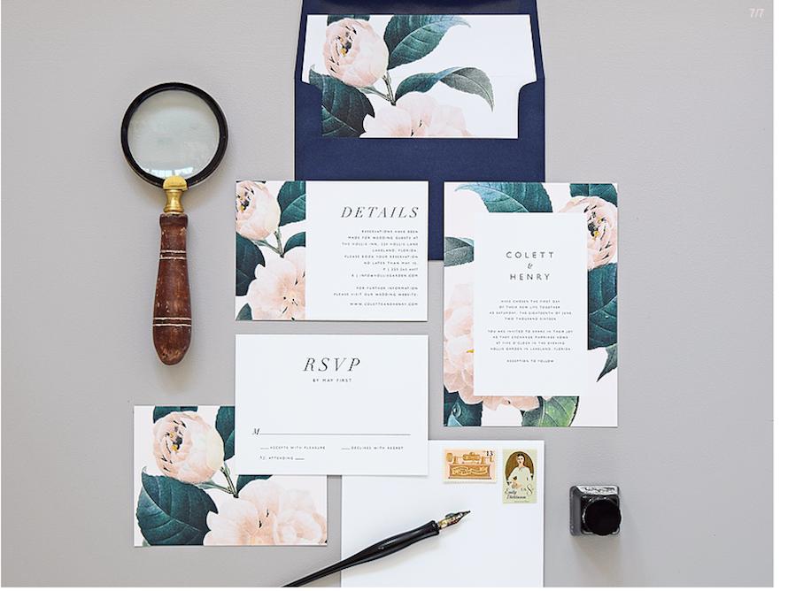 invitación boda flores