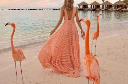 vestido coral boda